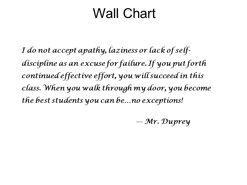 Wall Chart I do not accept apathy, laziness or lack of self- discipline as an excuse for failure.