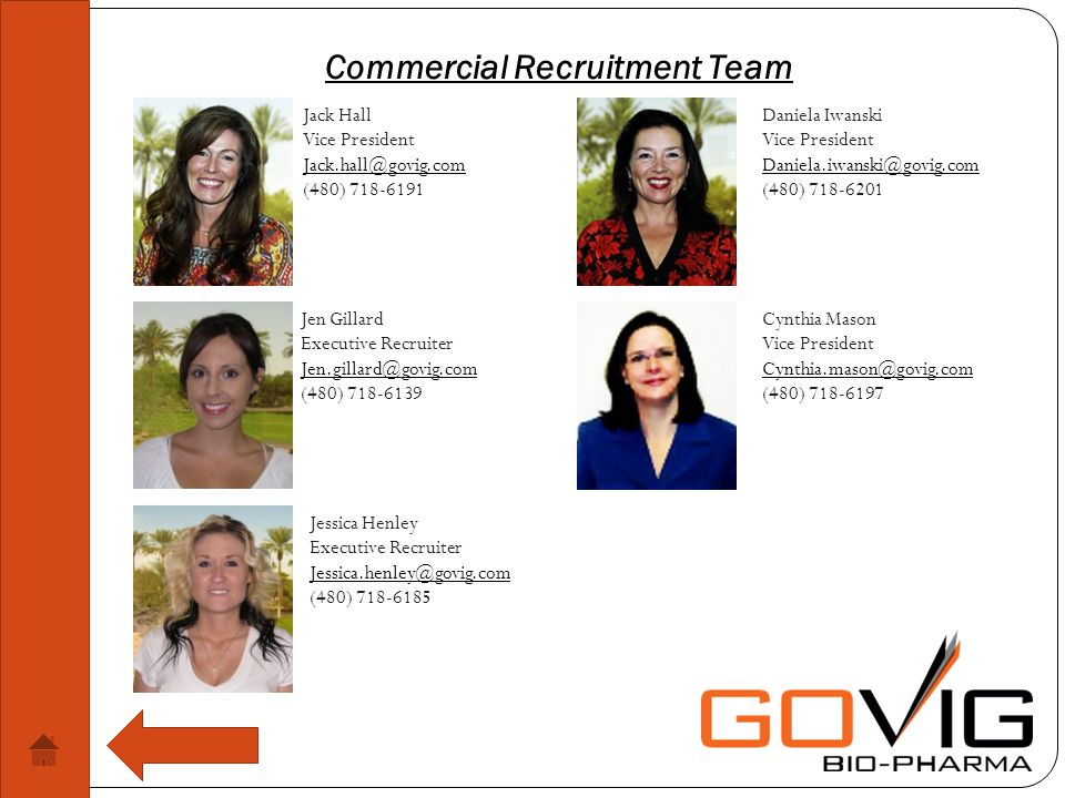 Commercial Recruitment Team Jack Hall Vice President (480) Jen Gillard Executive Recruiter (480) Daniela Iwanski Vice President (480) Cynthia Mason Vice President (480) Jessica Henley Executive Recruiter (480)