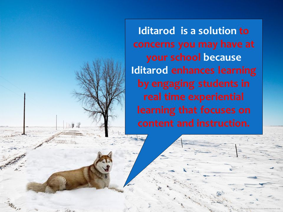 Iditarod is a solution to concerns you may have at your school because Iditarod enhances learning by engaging students in real time experiential learn