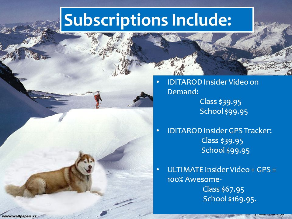 Subscriptions Include: IDITAROD Insider Video on Demand: Class $39.95 School $99.95 IDITAROD Insider GPS Tracker: Class $39.95 School $99.95 ULTIMATE