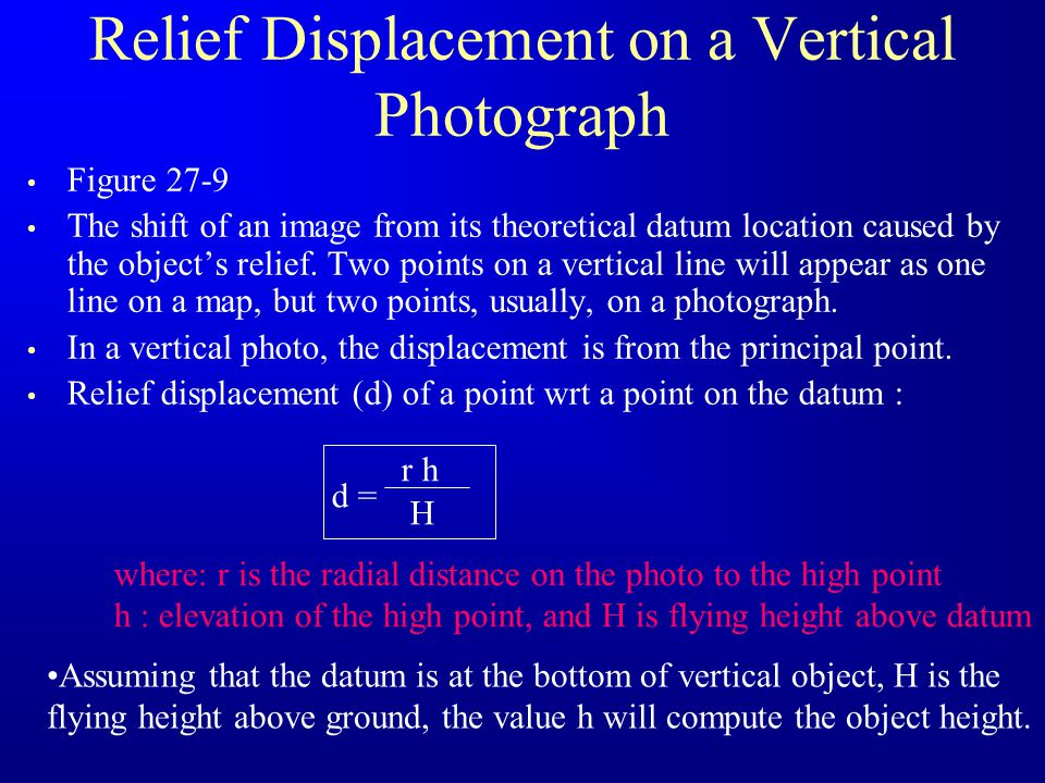Relief Displacement on a Vertical Photograph Figure 27-9 The shift of an image from its theoretical datum location caused by the objects relief. Two p