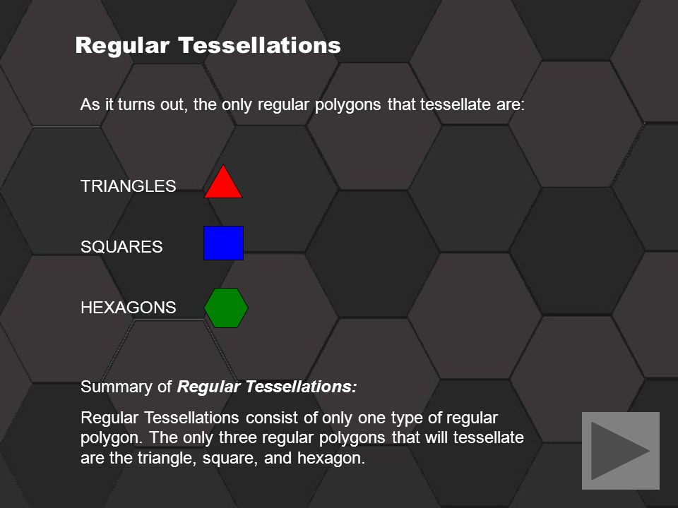 Regular Tessellations As it turns out, the only regular polygons that tessellate are: TRIANGLES SQUARES HEXAGONS Summary of Regular Tessellations: Reg