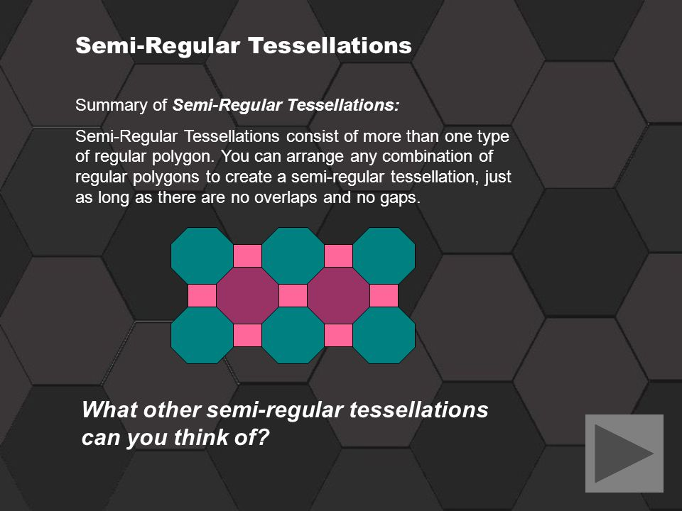 Summary of Semi-Regular Tessellations: Semi-Regular Tessellations consist of more than one type of regular polygon. You can arrange any combination of