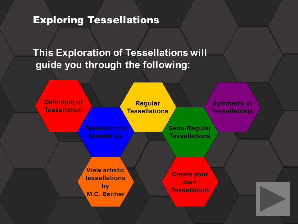 This Exploration of Tessellations will guide you through the following: Exploring Tessellations Definition of Tessellation Semi-Regular Tessellations