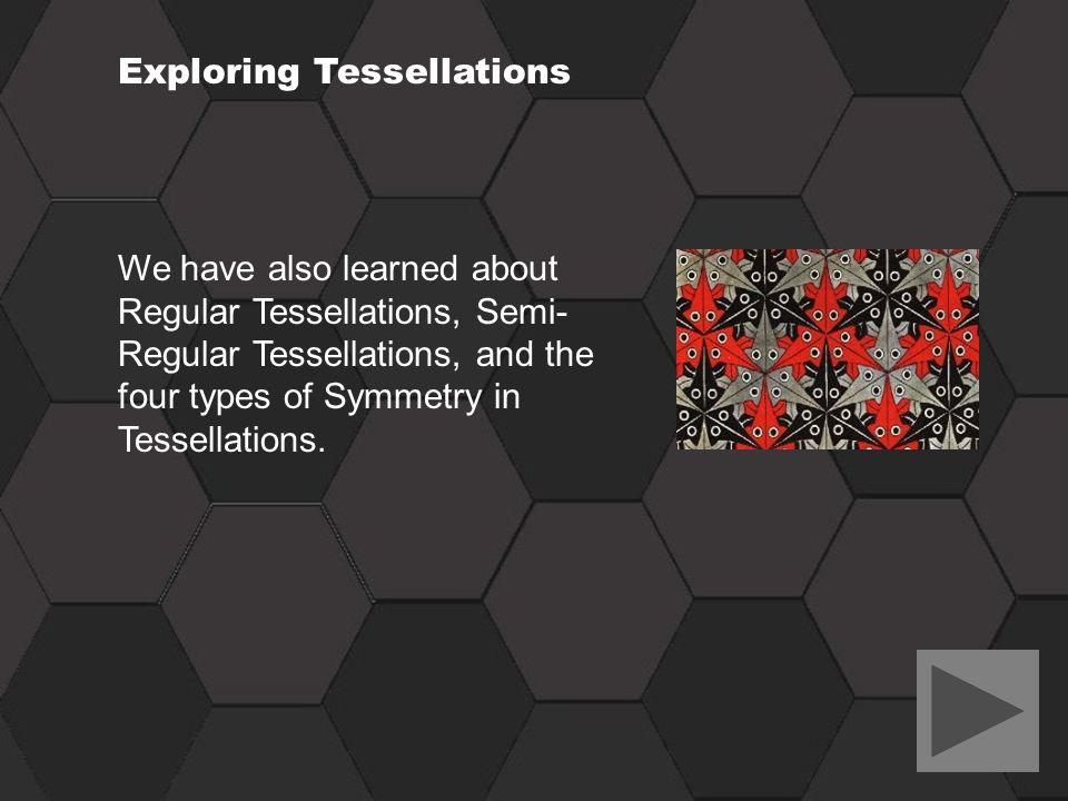 Exploring Tessellations We have also learned about Regular Tessellations, Semi- Regular Tessellations, and the four types of Symmetry in Tessellations