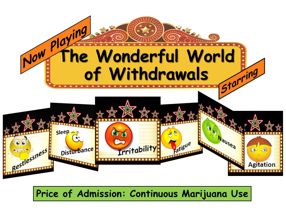The Wonderful World of Withdrawals Agitation Price of Admission: Continuous Marijuana Use