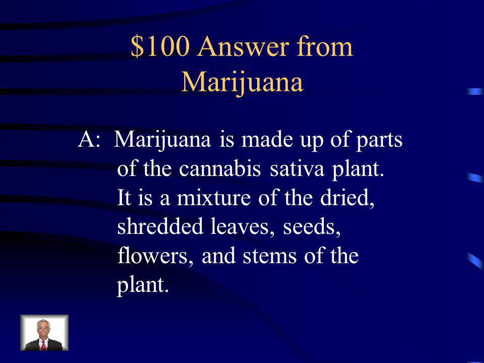 $100 Question from Marijuana Marijuana is made up of parts of a plant called __________.