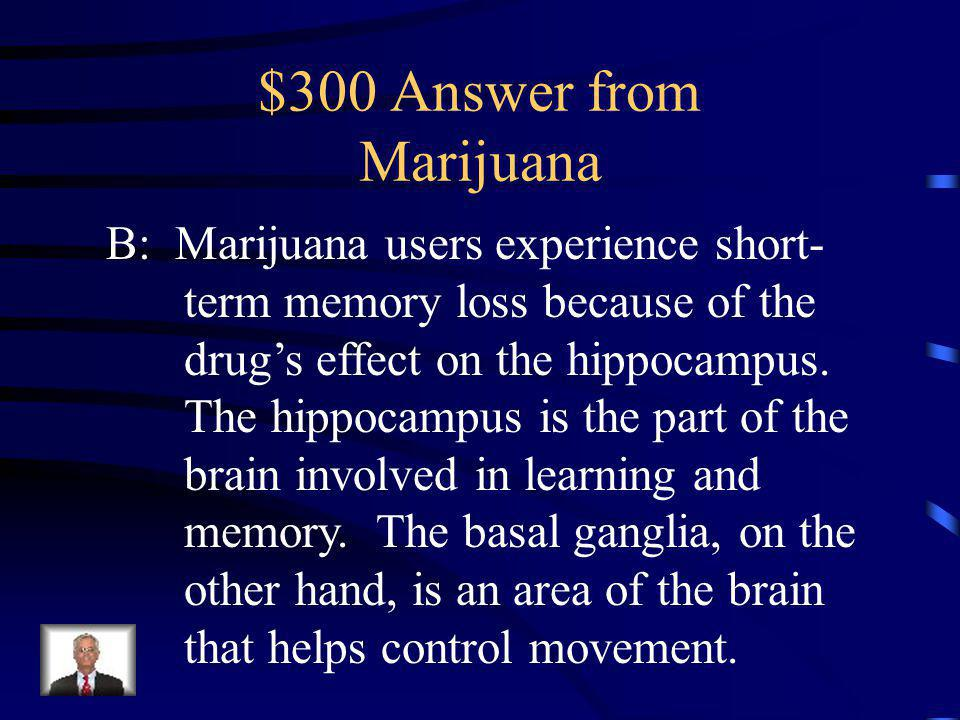 $300 Question from Marijuana Marijuana users experience short-term memory loss because of the drugs effect on ______________.