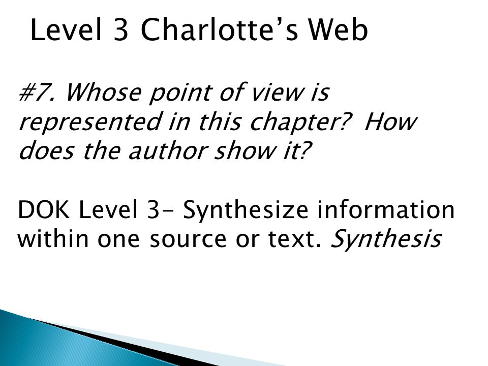Level 3 Charlottes Web #7.Whose point of view is represented in this chapter.