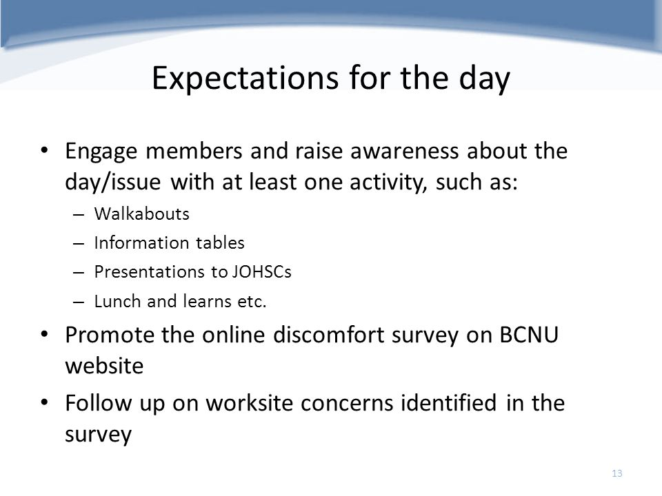 Expectations for the day Engage members and raise awareness about the day/issue with at least one activity, such as: – Walkabouts – Information tables