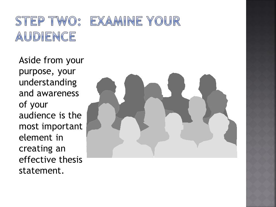 Aside from your purpose, your understanding and awareness of your audience is the most important element in creating an effective thesis statement.