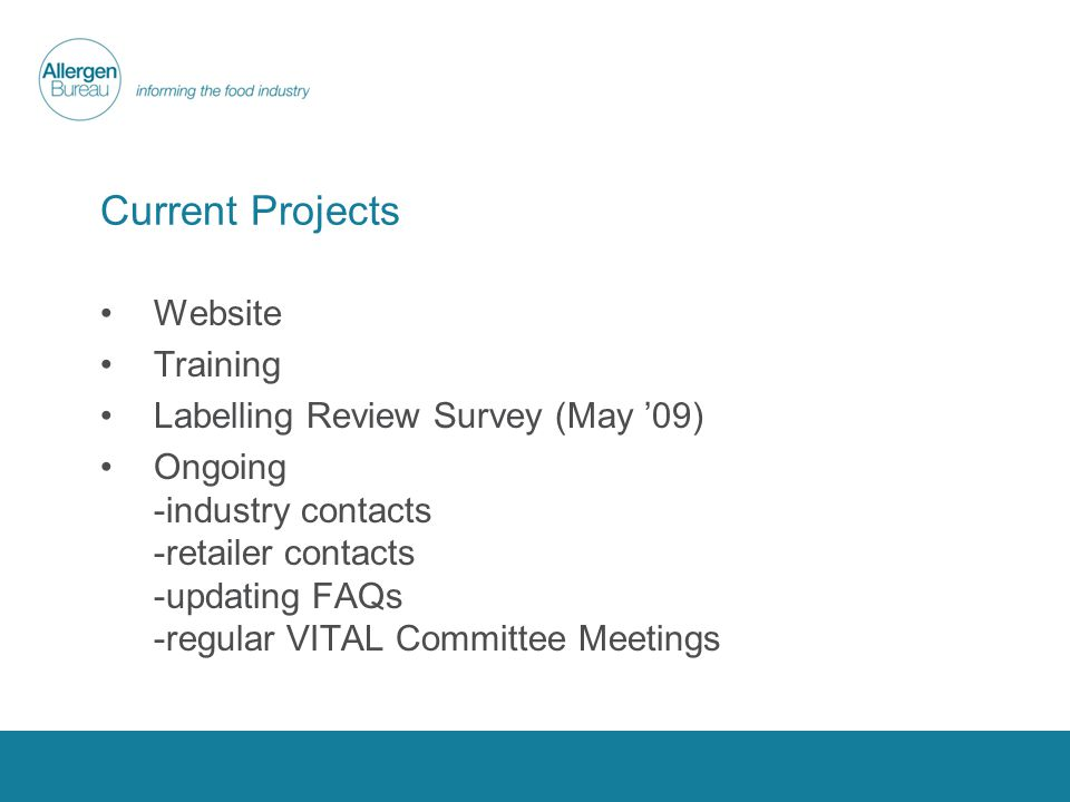 Current Projects Website Training Labelling Review Survey (May 09) Ongoing -industry contacts -retailer contacts -updating FAQs -regular VITAL Committee Meetings
