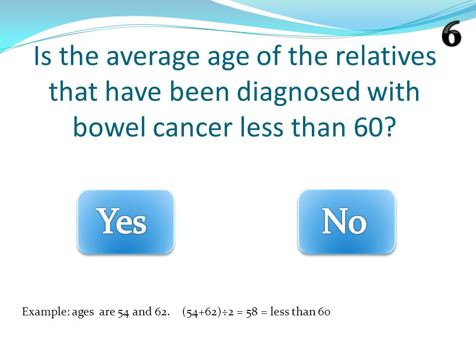 Is the average age of the relatives that have been diagnosed with bowel cancer less than 60.