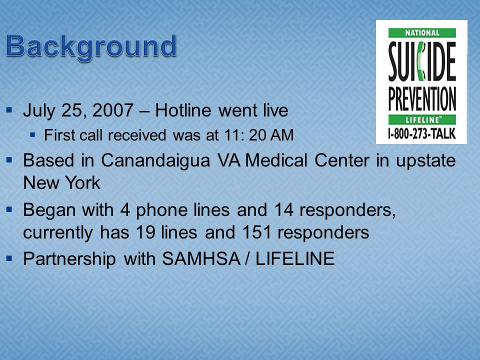 Background July 25, 2007 – Hotline went live First call received was at 11: 20 AM Based in Canandaigua VA Medical Center in upstate New York Began with 4 phone lines and 14 responders, currently has 19 lines and 151 responders Partnership with SAMHSA / LIFELINE