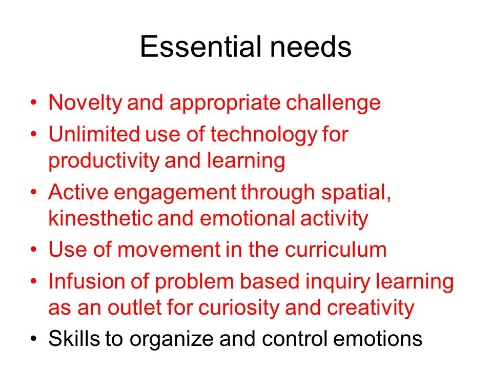 Essential needs Novelty and appropriate challenge Unlimited use of technology for productivity and learning Active engagement through spatial, kinesthetic and emotional activity Use of movement in the curriculum Infusion of problem based inquiry learning as an outlet for curiosity and creativity Skills to organize and control emotions