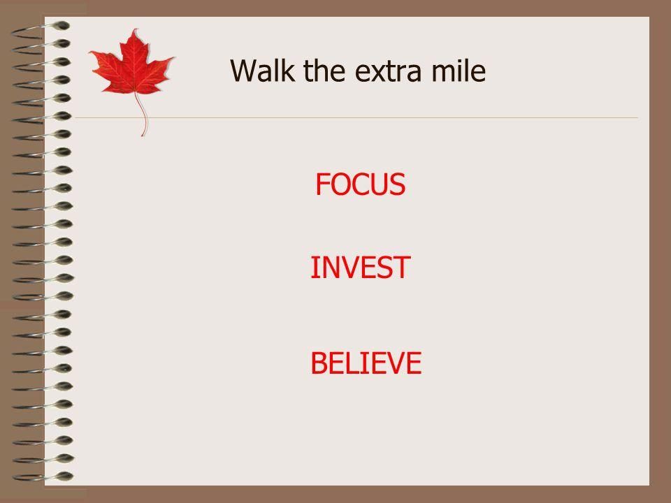 Walk the extra mile INVEST FOCUS BELIEVE