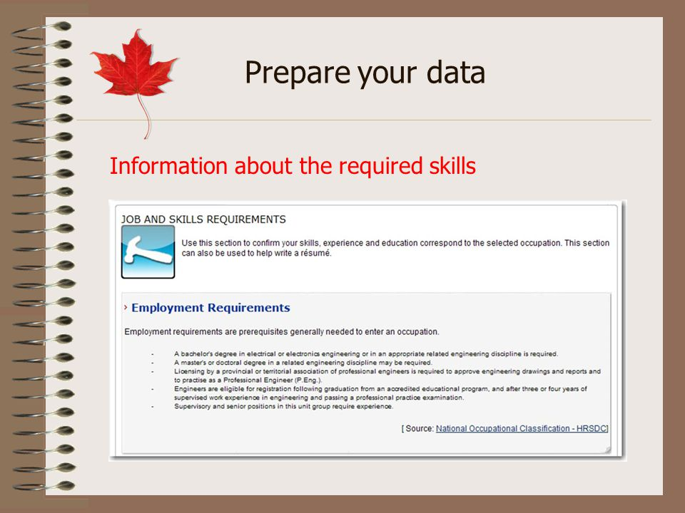 Information about the required skills Prepare your data