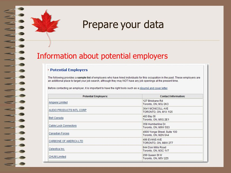 Information about potential employers Prepare your data