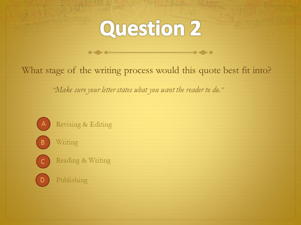 Writing Reading & Writing What stage of the writing process would this quote best fit into.