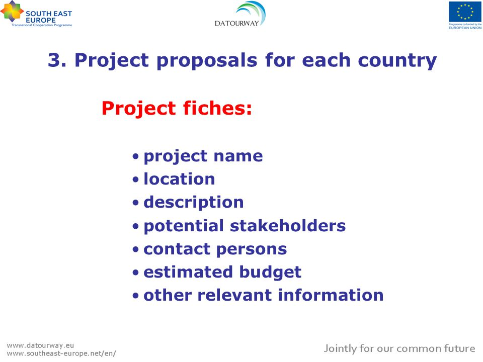 3. Project proposals for each country Project fiches: project name location description potential stakeholders contact persons estimated budget other