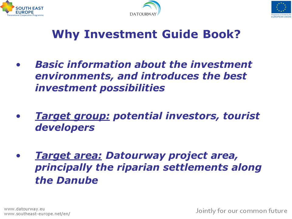 Why Investment Guide Book? Basic information about the investment environments, and introduces the best investment possibilities Target group: potenti