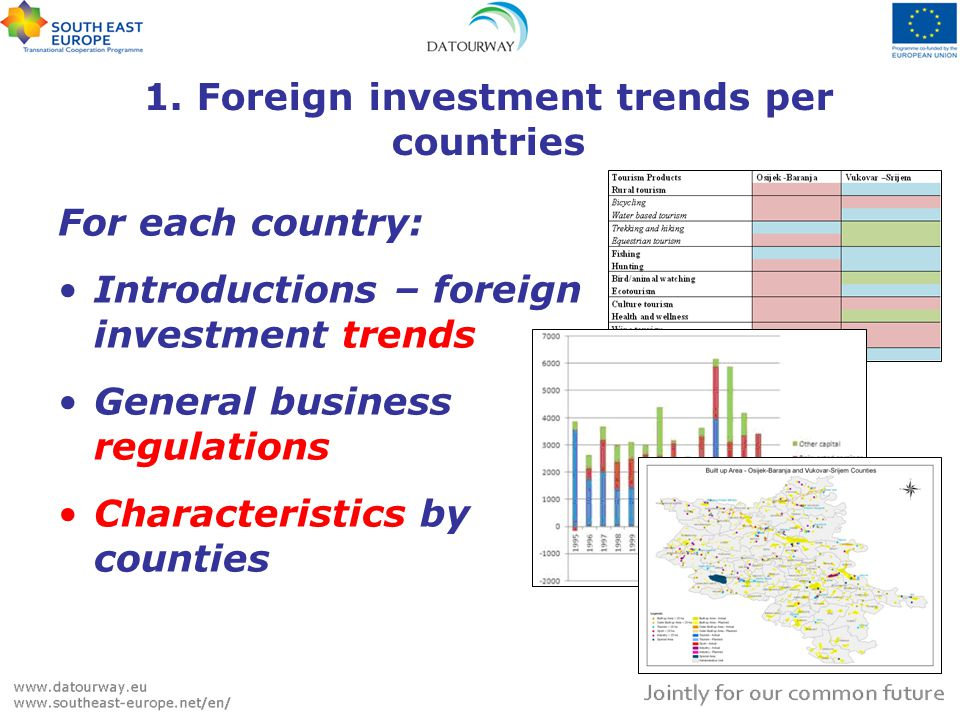 1. Foreign investment trends per countries For each country: Introductions – foreign investment trends General business regulations Characteristics by