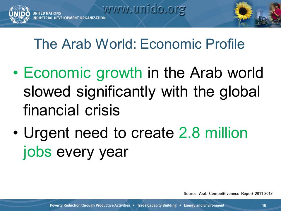 The Arab World: Economic Profile Economic growth in the Arab world slowed significantly with the global financial crisis Urgent need to create 2.8 mil