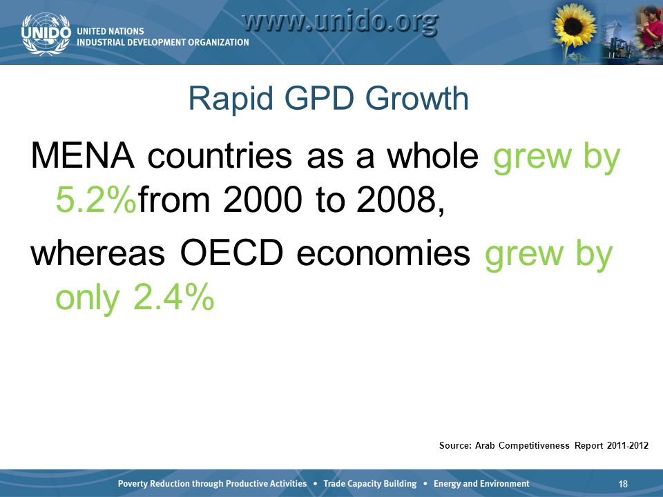 Rapid GPD Growth MENA countries as a whole grew by 5.2%from 2000 to 2008, whereas OECD economies grew by only 2.4% 18 Source: Arab Competitiveness Rep