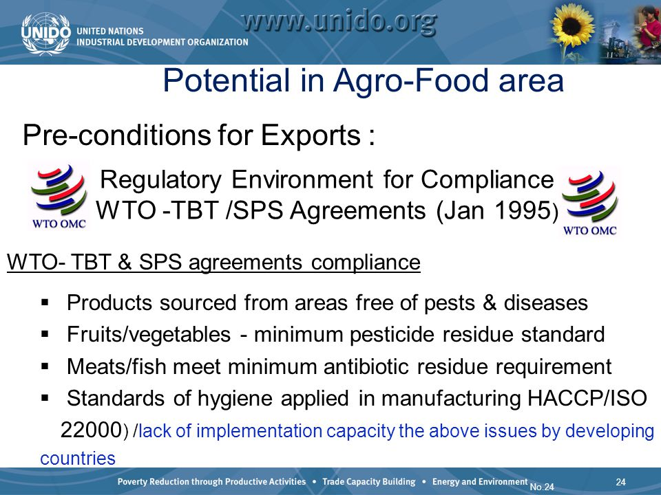 24 No.24 Potential in Agro-Food area WTO- TBT & SPS agreements compliance Products sourced from areas free of pests & diseases Fruits/vegetables - min