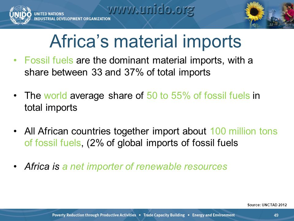 Africas material imports Fossil fuels are the dominant material imports, with a share between 33 and 37% of total imports The world average share of 5