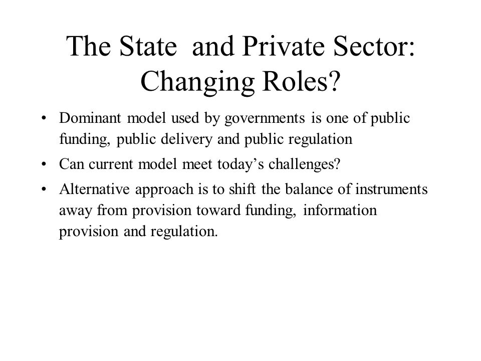 The State and Private Sector: Changing Roles.