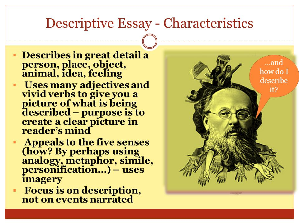 Descriptive Essay - Characteristics Describes in great detail a person, place, object, animal, idea, feeling Uses many adjectives and vivid verbs to g