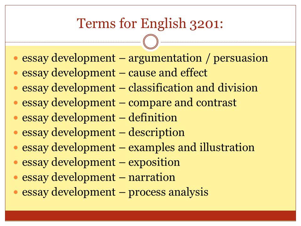 Terms for English 3201: essay development – argumentation / persuasion essay development – cause and effect essay development – classification and div