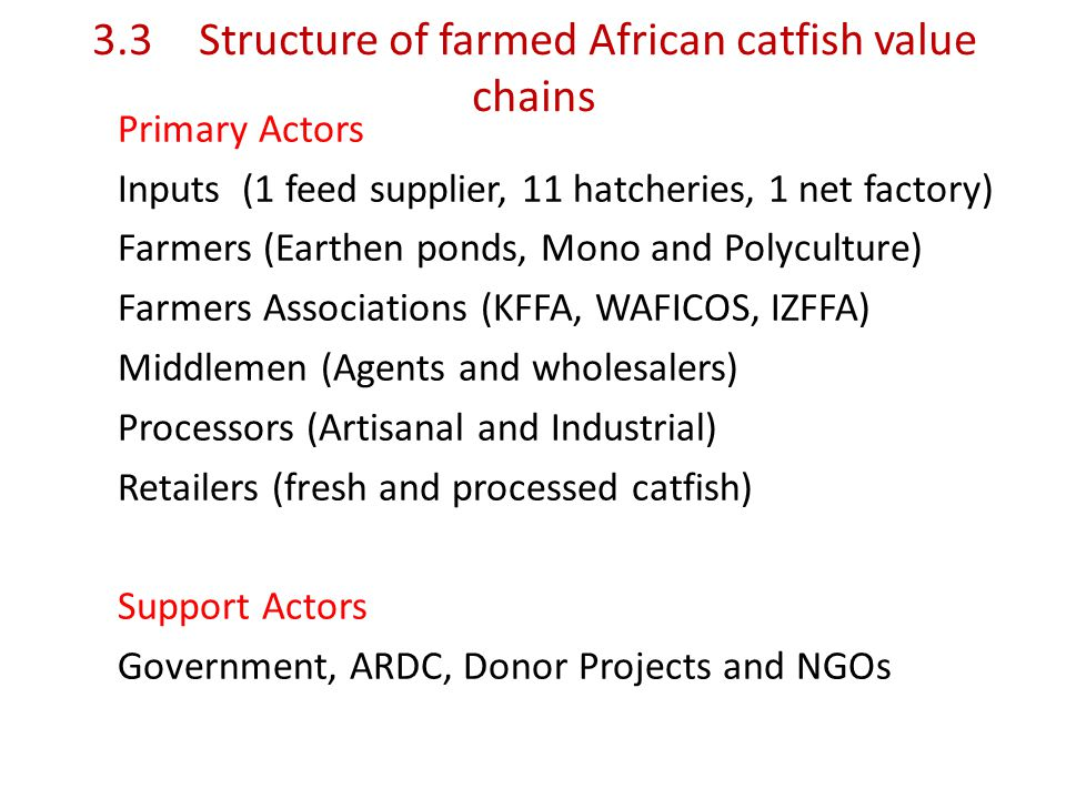 3.3Structure of farmed African catfish value chains Primary Actors Inputs (1 feed supplier, 11 hatcheries, 1 net factory) Farmers (Earthen ponds, Mono and Polyculture) Farmers Associations (KFFA, WAFICOS, IZFFA) Middlemen (Agents and wholesalers) Processors (Artisanal and Industrial) Retailers (fresh and processed catfish) Support Actors Government, ARDC, Donor Projects and NGOs