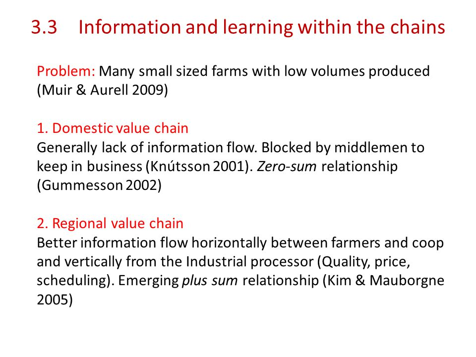 3.3Information and learning within the chains Problem: Many small sized farms with low volumes produced (Muir & Aurell 2009) 1.