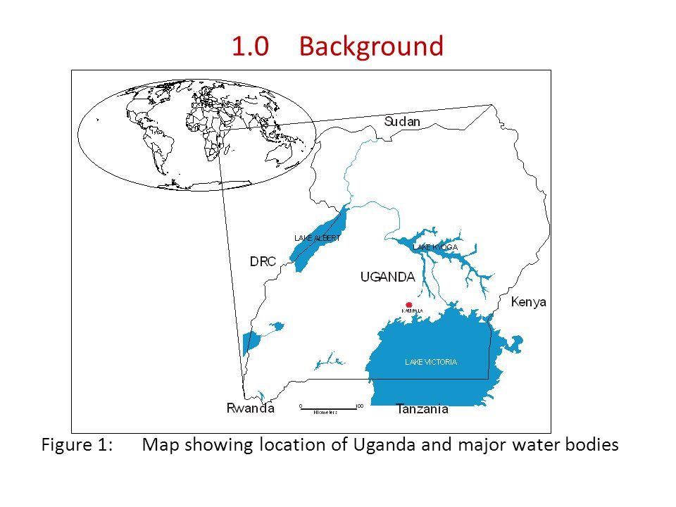 1.0Background Figure 1: Map showing location of Uganda and major water bodies