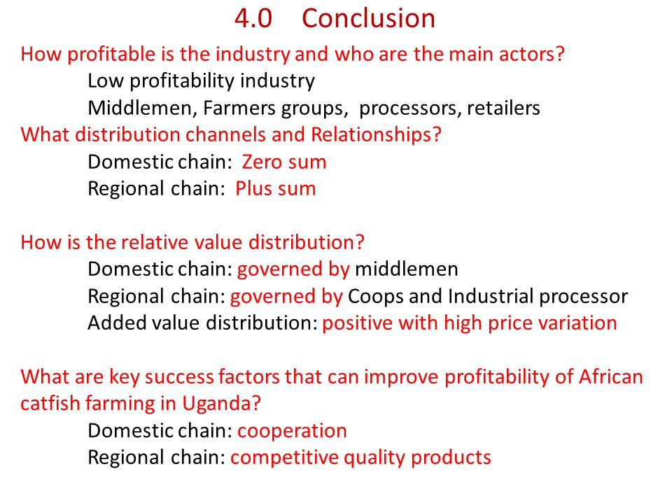 4.0Conclusion How profitable is the industry and who are the main actors.