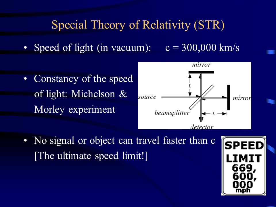 Special Theory of Relativity (STR) Speed of light (in vacuum): c = 300,000 km/s Constancy of the speed of light: Michelson & Morley experiment No sign