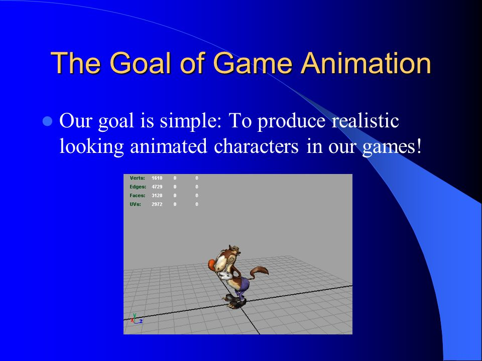 The Goal of Game Animation Our goal is simple: To produce realistic looking animated characters in our games!