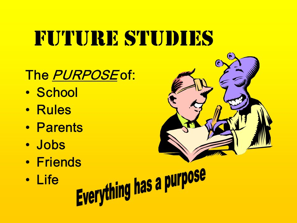 FUTURE STUDIES The PURPOSE of: School Rules Parents Jobs Friends Life