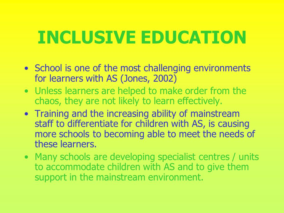 SPECIALIST CENTRE 12 Pupils with ASD Support base for learners SAFE HAVEN Give structure to day / curriculum 75% of mainstream lessons 25% Specialist teaching Train and prepare learners for Mainstream living.