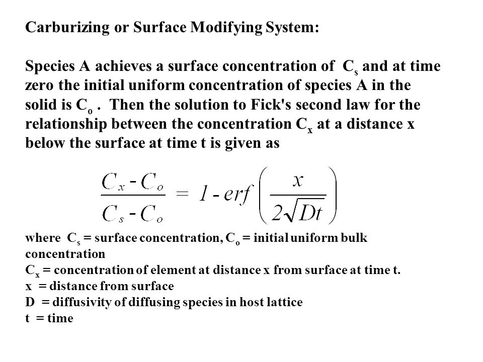 Carburizing or Surface Modifying System: Species A achieves a surface concentration of C s and at time zero the initial uniform concentration of speci