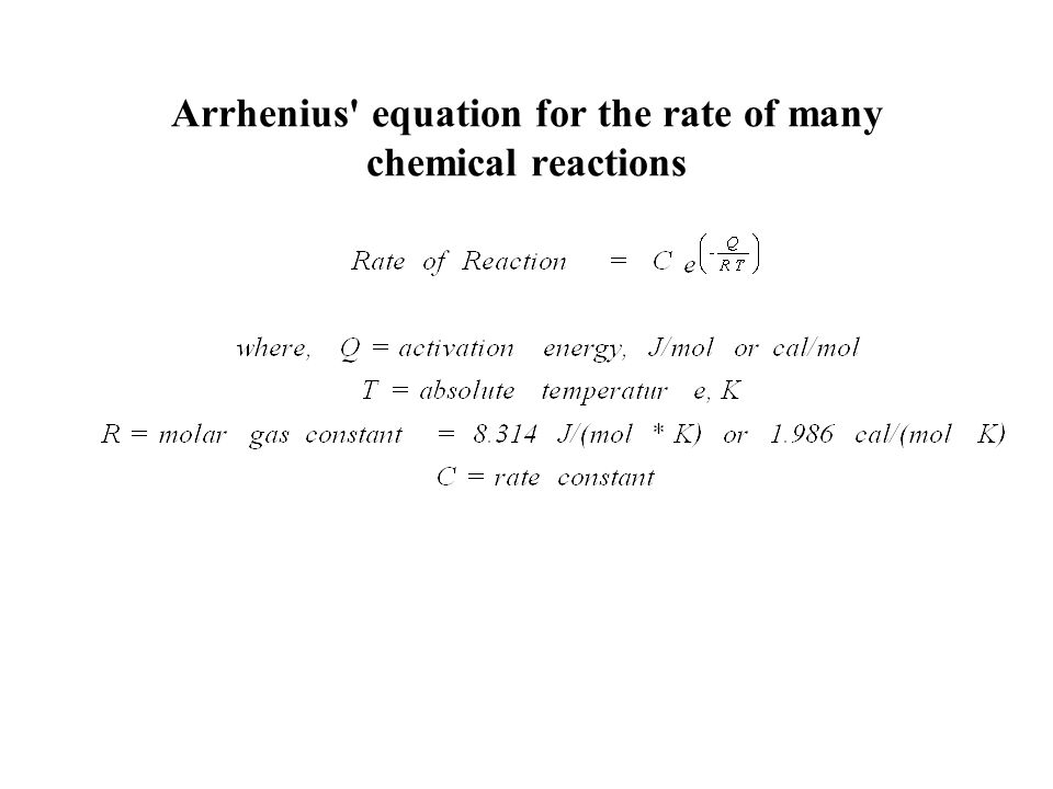 Arrhenius equation for the rate of many chemical reactions