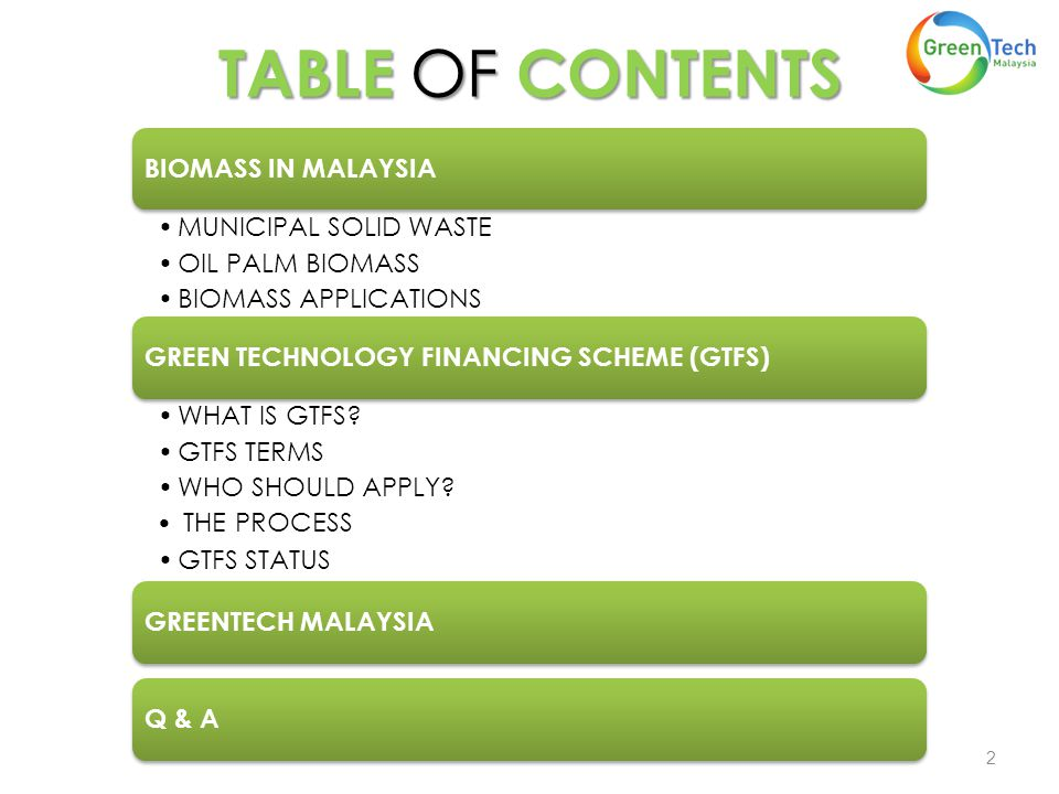 TABLE OF CONTENTS 2 BIOMASS IN MALAYSIA MUNICIPAL SOLID WASTE OIL PALM BIOMASS BIOMASS APPLICATIONS GREEN TECHNOLOGY FINANCING SCHEME (GTFS) WHAT IS GTFS.