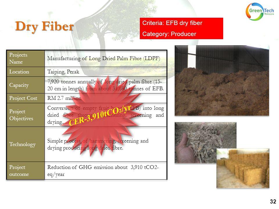 32 Dry Fiber Criteria: EFB dry fiber Category: Producer