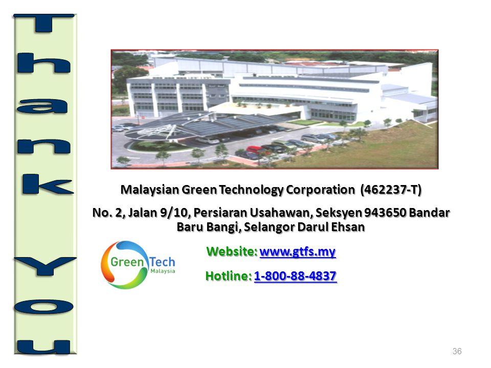 Malaysian Green Technology Corporation (462237-T) No. 2, Jalan 9/10, Persiaran Usahawan, Seksyen 943650 Bandar Baru Bangi, Selangor Darul Ehsan Websit