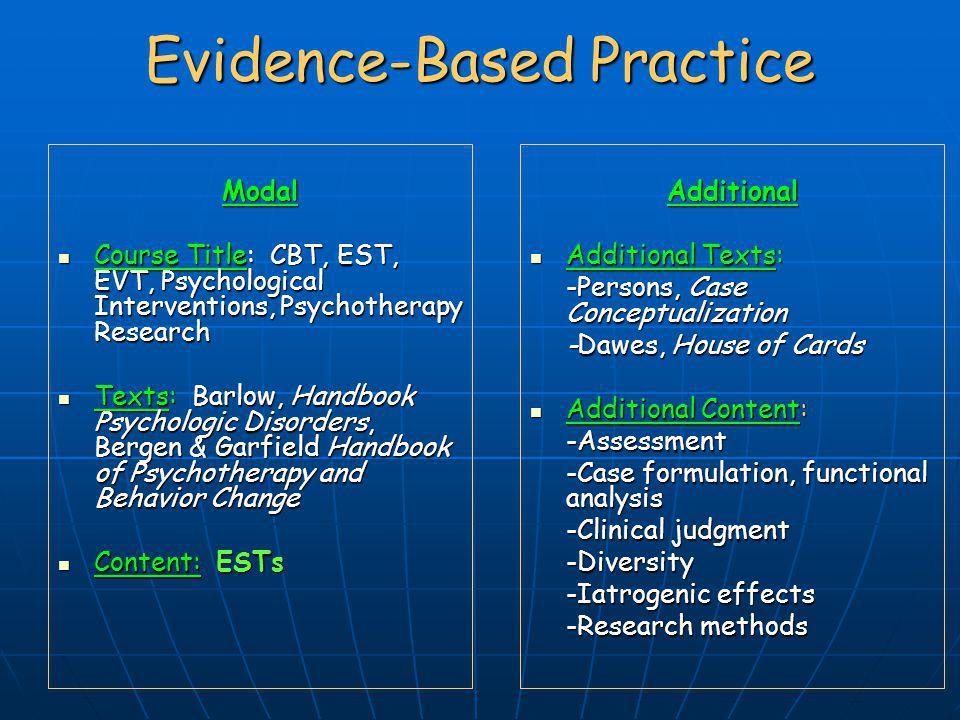 Evidence-Based Practice Modal Course Title: CBT, EST, EVT, Psychological Interventions, Psychotherapy Research Course Title: CBT, EST, EVT, Psychologi