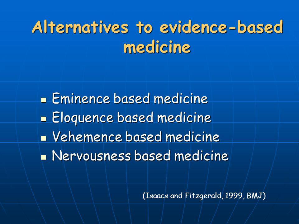 Alternatives to evidence-based medicine Eminence based medicine Eminence based medicine Eloquence based medicine Eloquence based medicine Vehemence ba