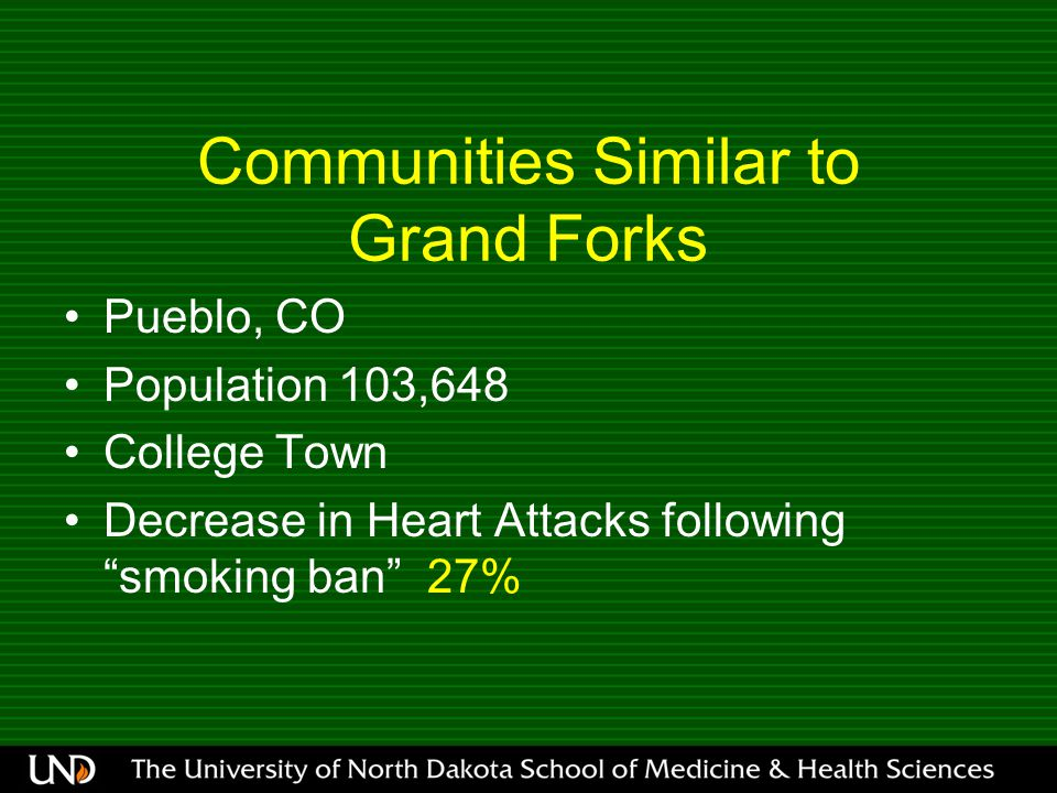 Communities Similar to Grand Forks Pueblo, CO Population 103,648 College Town Decrease in Heart Attacks following smoking ban 27%