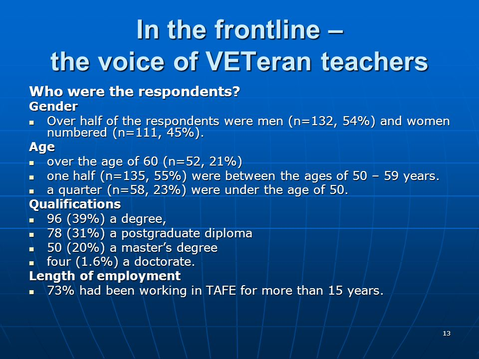 13 In the frontline – the voice of VETeran teachers Who were the respondents? Gender Over half of the respondents were men (n=132, 54%) and women numb